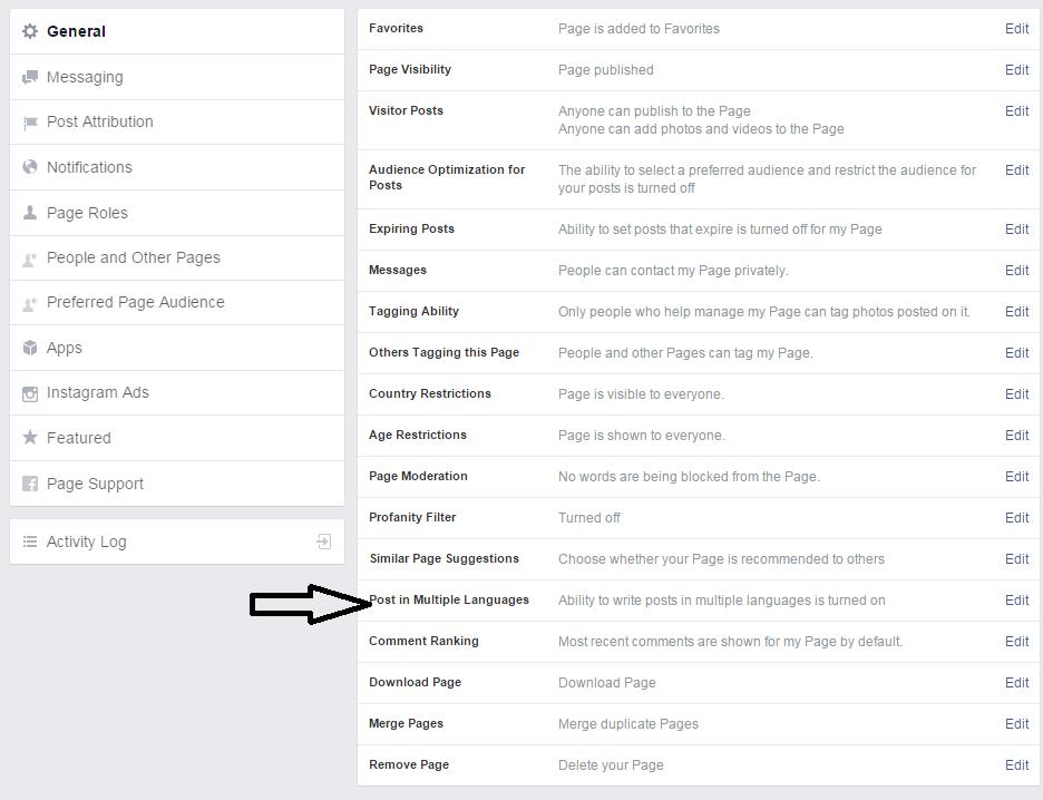 התאמת שפות לפוסט פייסבוק